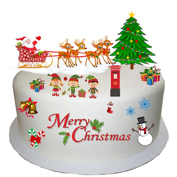Etsy Christmas Cake Decorations : Items similar to Stand Up Childrens Clipart Style ...