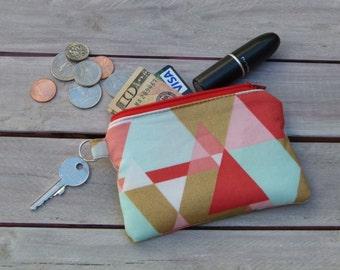 Triangle Zipper Pouch Wallet; Little Zipper Pouch; Personalized Zipper Pouch; Credit Card Holder; Coin Purse; ID Wallet; Credit Card Wallet