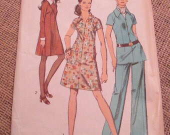 Vintage 1970 Simplicity Sewing Pattern 8869 Misses Dress or Tunic and Pants with Detachable Collar and Cuffs