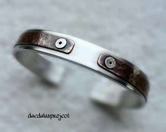 Men bracelet, adjustable headband, copper insert riveted. handmade, handmade jewelry, men's bracelet,