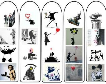 Banksy Bookmarks, instant digital download