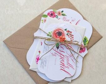 rustic wedding invitation, country wedding invitation, spring wedding invitation,