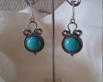 FashionTibetan Silver and 925 Silver Turquoise Round Dangle Earrings