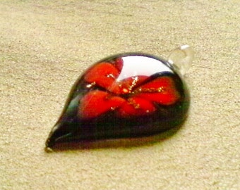 Lampwork glass pendant;  large Lampwork Glass pendant, black with red-orange poppy design, 50x10mm, 1pc/5.00.
