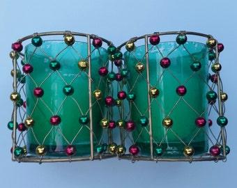 Christmas Votive Holders / Christmas / Christmas Votives / Green Votives / Green Votive / Beaded Votive / Wire Votive / Christmastime / Wire