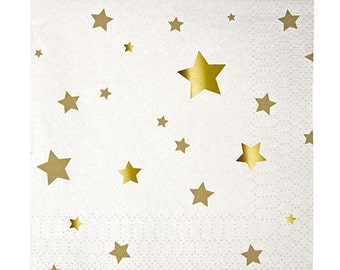 Gold Star Napkins - Set of 16 Meri Meri Toot Sweet Gold Star Small Napkins - Great for a Star-Themed or Twinkle Twinkle Little Star Party!
