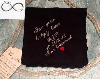 Bridesmaid wedding handkerchief black
