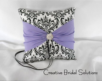 Black and White Madison Damask with Violet Wedding Ring Bearer Pillow