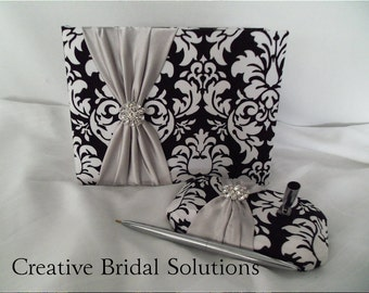 Black and White Damask with Silver Wedding Guest Book and Pen Set, Gray Guest Book, Damask Guest Book, Black and White Guest Book