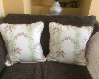 A pair of cushion covers. Homemade. Vintage Sanderson.