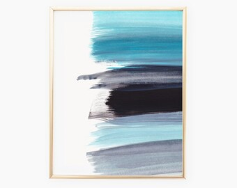 Light Blue and Black Print, Paint Strokes, Printable, 8 x 10, Instant Download