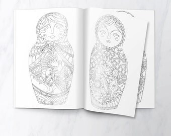 Matryoshka Dolls Coloring Book - Set of 5 Printable Colouring Pages (Instant PDF Download)