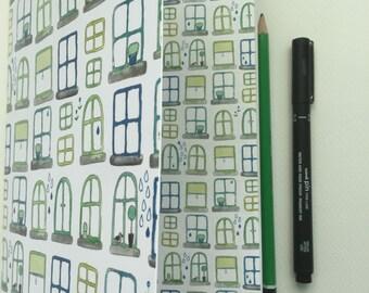 Stitch bound notebook watercolour windows design handmade notebook journal A5 notebook graph and plain paper