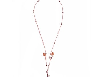 Alice's bunny necklace, 16.9in (43cm) Fashion jewelry Golden necklace