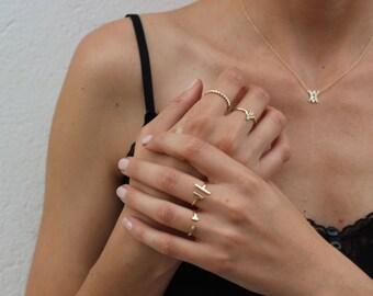 open bar ring - minimal Gold bar ring - Simple gold ring - Minimal jewelry - stacking ring - open ring  - dainty ring