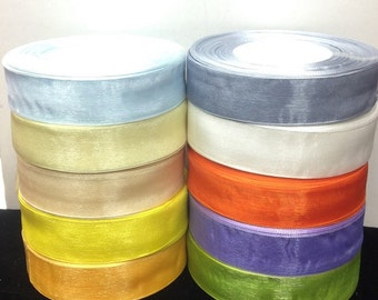 "50 Yards  1""Inch Organza (sheer) Ribbons 20 Different Colors selling per Roll"
