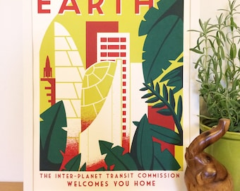 Earth is Waiting - Vintage Space Travel Poster