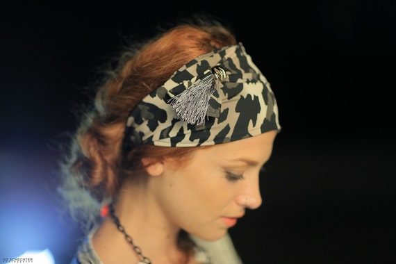 Camouflage Headband/Sporty Bandana/Yoga Headband/Soldier Fashion Style/Khaki Camo Print/Tassel/Casual/Bad Hair Day/Solidarity With Troops