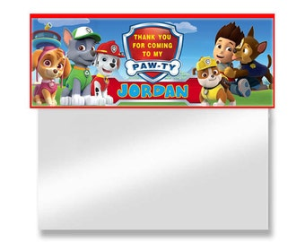 Paw patrol personalized birthday Bag Toppers - Printable