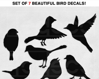 Birds Wall Decal Vinyl Wall Sticker - Set of 7 Birds Total - A Todeco Product