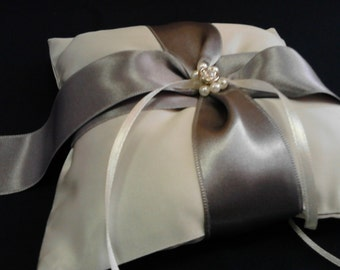 Ring Bearer Pillow / silver/ grey/ swarovski