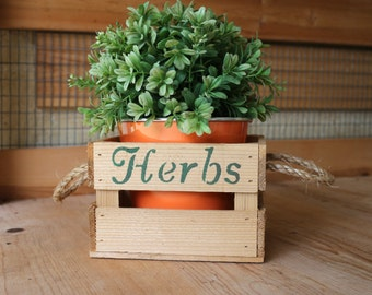 """Small """"Herbs"""" Crate//Rustic crate//Garden planter//Primitive Planter//Gift for gardener//wood crate//Orange Pot with Crate"""