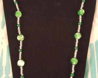 Handmade Green and Clear Necklace