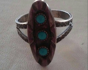 Hopi, Sterling Silver and Turquoise, shadowbox ring. 11