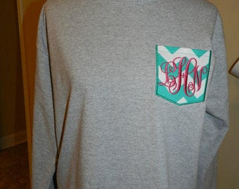 Girls Monogrammed Long Sleeve Pocket Shirt