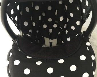 Black white spots newborn set with hood