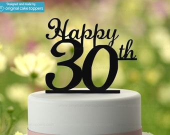 "30th Birthday Cake Topper - ""Happy 30th"" - BLACK - OriginalCakeToppers"