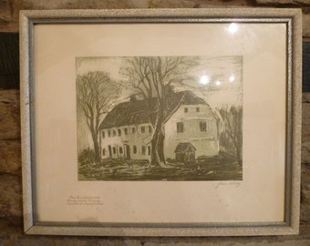 Original Swedish Print Desolate Country House in Woods by JOHN BOREN 1903-83 Signed