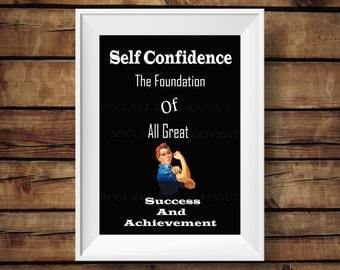Self confidence print - success and achievement  Poster -  achievement print  INSTANT DOWNLOAD  - Home Decor - affirmations Print