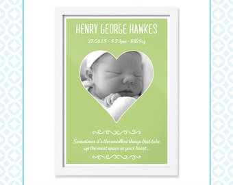 Baby Boy or Baby Girl Birth Announcement - Single Heart - New Baby