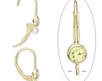 14K Gold-filled Earwire, Peridot, 17mm leverback, 4mm gemstone