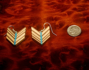 Modern Chevron Reclaimed Wood and Turquoise Earrings