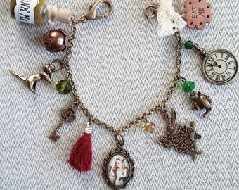 Alice in Wonderland bracelet with charms