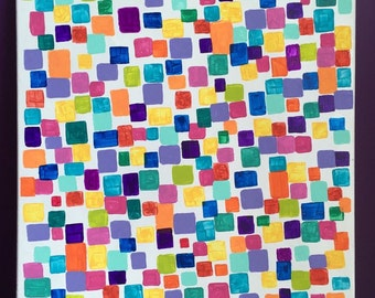 Original Abstract Acrylic Painting, Multi-colored squares, Modern Canvas Art, 20x16, Acrylic painting, multi-colored & sized squares, Decor
