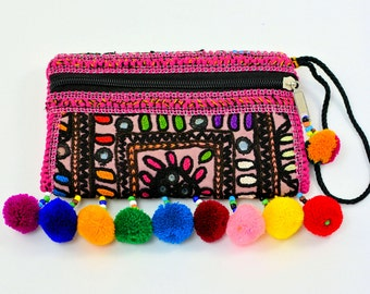 Multicolored pom pom clutch bag,Sindhi embroidery bag,Handmade bags,Clutches,Evening bags,Banjara bags,Vintage Fabric bags,Pouches,Handbags