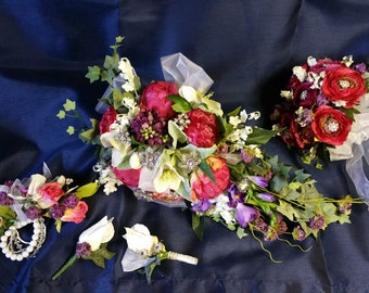 REDUCED PRICE!!! on Wedding Collection, Brides Bouquet, Maid of honor bouquet, wrist corsage, grooms boutonniere, best man boutonniere