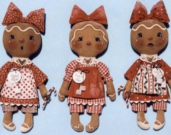 "Primitive Gingerbread Doll PATTERN "" Sweet As Sugar"" Gingers"