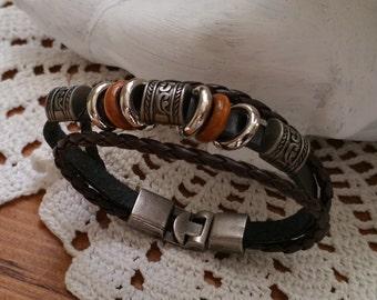 Leather Bracelet braided Brown nostalgia 19 cm CA103