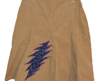 The Grateful Dead OOAK Upcycled Corduroy Hippie Clothes for Women Skirt Size Medium!