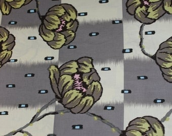 Amy Butler-Lotus Collection-Water Lily-AB15-Grey; Cotton Woven Fabric; 1/2 yd.