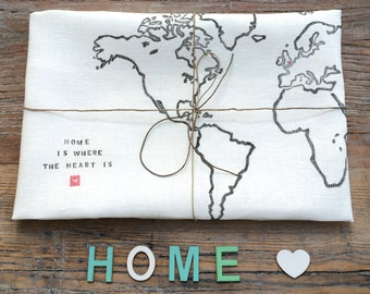 Personalised Home is Where the Heart is -  World Map Luxury Kitchen Tea Towel
