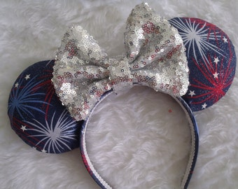 "4th of July inspired Patriotic ""Fireworks"" Silver Sequin  Bow Custom Mouse Ears"