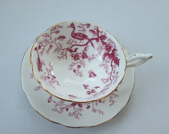 SALE 15% OFF--Coalport Cairo Cup And Saucer Fuschia/Pink Teacup -Bone China England China Cabinet Stored -Free Shipping Canada And USA!!