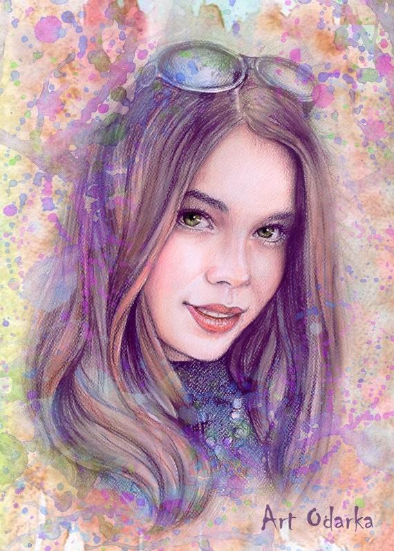 Custom portraits digital portrait colored pencil Portrait