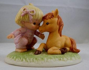 Vintage Enesco Girl with Horse Figurine, Girl with Horse Enesco
