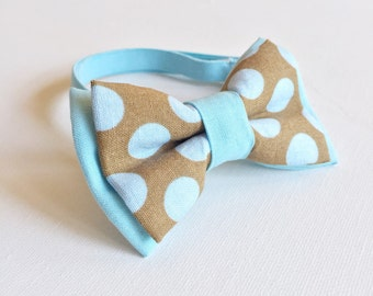 "The ""Billie"" baby boys bow tie - brown with pale blue polkadot"